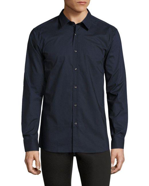 HUGO - Blue Elisha Diagonal Chevron Shirt for Men - Lyst