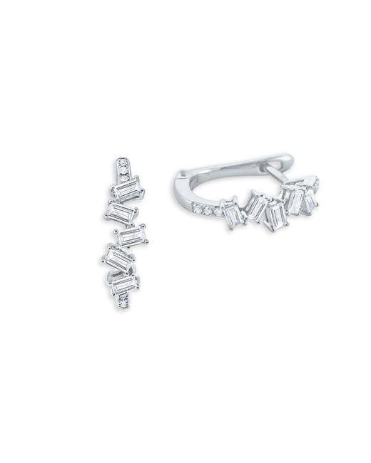 KC Designs - Metallic Mosaic Baguette Diamond And 14k White Gold Hoop Earrings - Lyst
