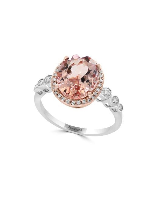 Effy - Pink Diamond, Morganite And 14k Rose And White Gold Statement Ring - Lyst