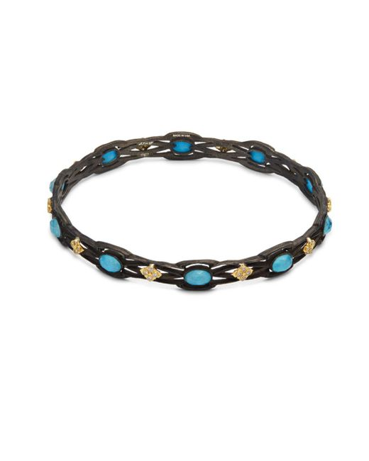 Armenta - Metallic Old World White Diamond, Blue Turquoise, Rainbow Moonstone & 18k Goldplated Sterling Silver Bracelet - Lyst
