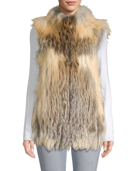 Belle Fare - Natural Vertical Full Skin Cross Fox Fur Vest - Lyst