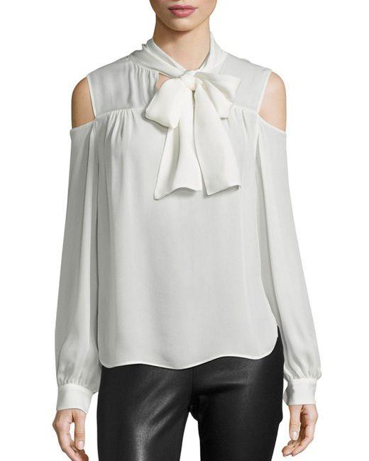Saks Fifth Avenue - White Tie-neck Silk Blouse - Lyst