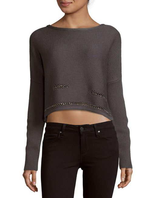Ramy Brook   Gray Chrissy Chain Detail Sweater   Lyst