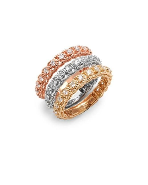 Saks Fifth Avenue - Metallic Diamond & 14k Tricolor Gold Illusion Stackable Ring Set - Lyst