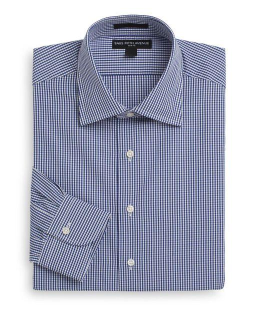 Saks Fifth Avenue - Blue Slim-fit Mini-gingham Cotton Dress Shirt for Men - Lyst