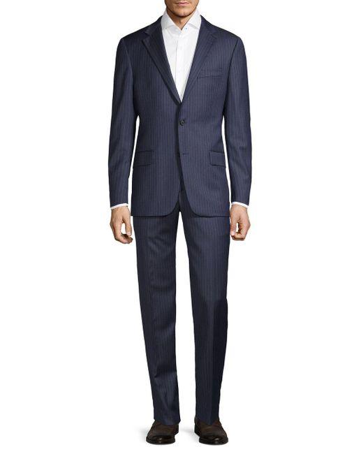 Hickey Freeman Blue Regular-fit Pinstripe Wool Suit for men