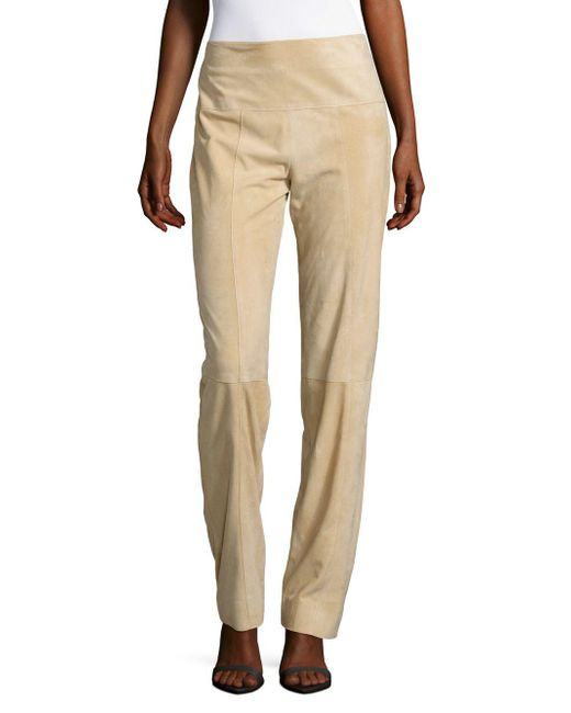 Carolina Herrera - Natural Slim-fit Suede Pants - Lyst