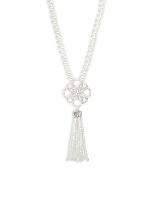 Saks Fifth Avenue | Metallic Crystal, White Faux Pearl & Silver Solid Fill Pendant Necklace | Lyst