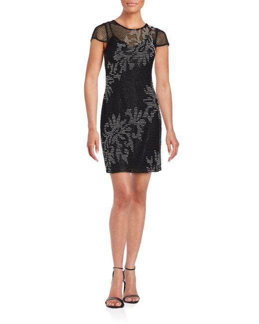 Aidan Mattox - Black Short Sleeve Beaded Dress - Lyst