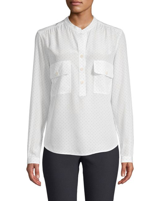Vince - White Silk Polka Dot Utility Shirt - Lyst