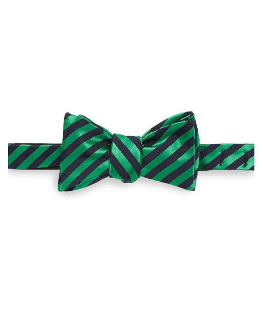 Ike Behar | Green Striped Silk & Cotton-blend Bow Tie for Men | Lyst