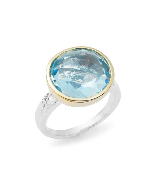 Gurhan - Metallic Faceted Blue Topaz, 24k Gold-plated & Sterling Silver Ring - Lyst