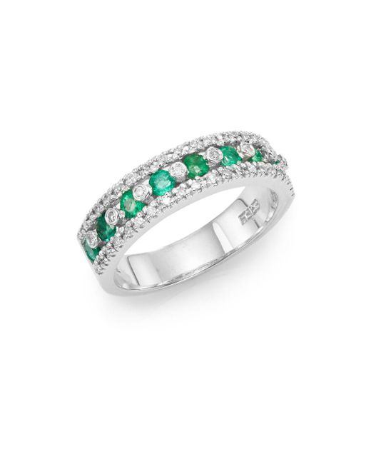 Effy - Metallic Final Call Diamond, Emerald & 14K White Gold Ring - Lyst