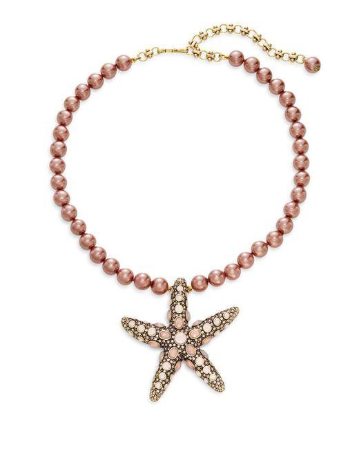 Heidi Daus | Metallic Faux Pearl Crystal Starfish Pendant Necklace | Lyst