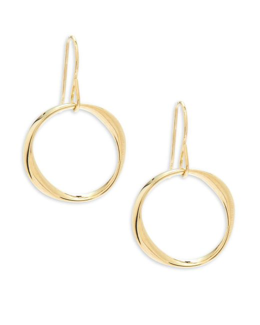 Saks Fifth Avenue - Metallic 14k Yellow Gold Twisted Earrings - Lyst