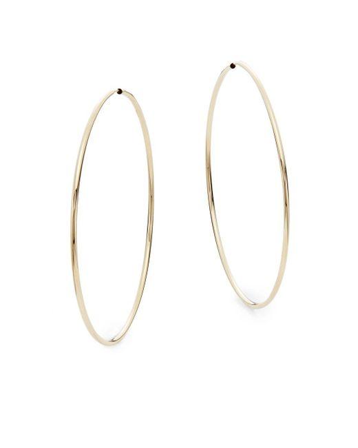 """Saks Fifth Avenue   Metallic 14k Yellow Gold Hoop Earrings/2.35""""   Lyst"""