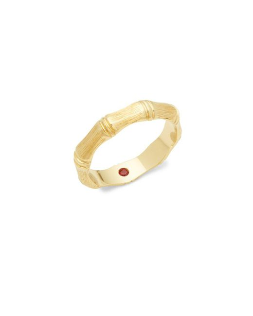 Roberto Coin | Metallic 18k Yellow Gold Bamboo Ring | Lyst