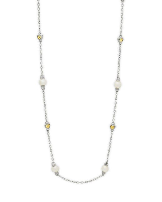 Judith Ripka - Metallic Freshwater Pearls And Heartcanary Yellow Crystal Necklace - Lyst