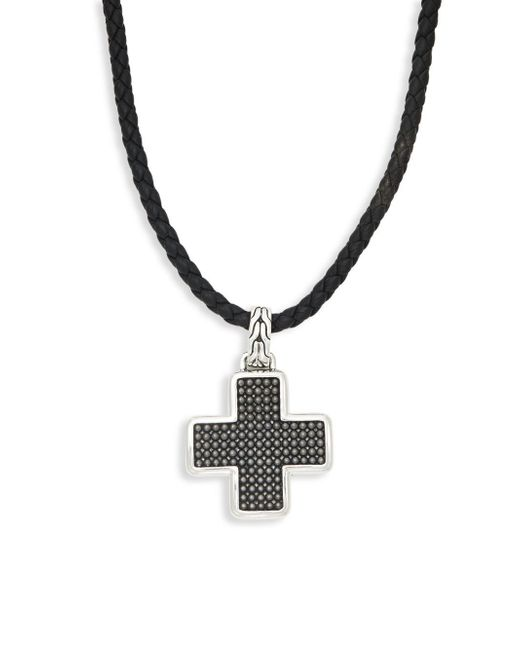 John Hardy - Black Leather & Sterling Silver Cross Pendant Necklace for Men - Lyst