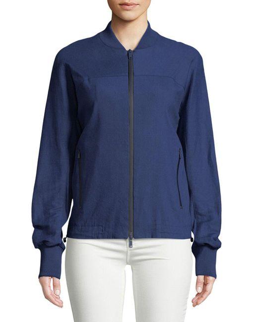 Donna Karan - Blue Linen-blend Bomber Jacket - Lyst