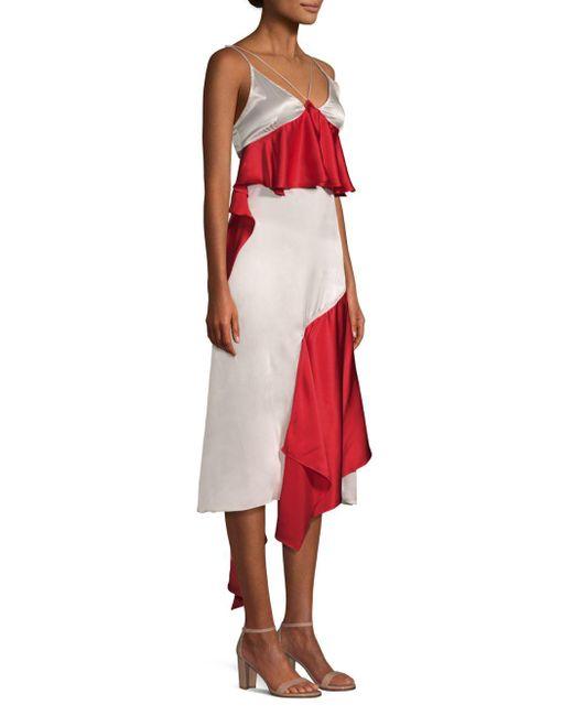 Each x Other - Red Silk Ruffle Slip Dress - Lyst