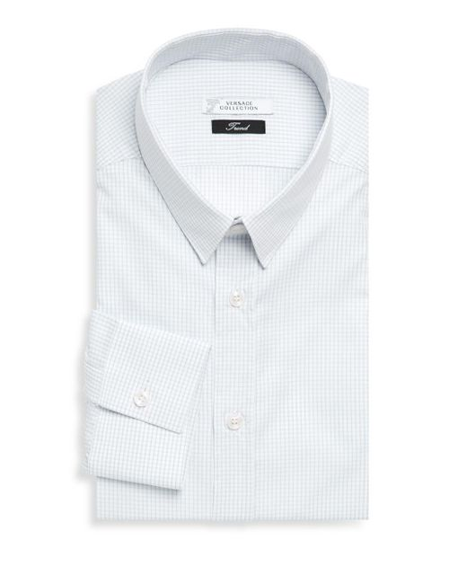 Versace - Gray Gingham Dress Shirt for Men - Lyst