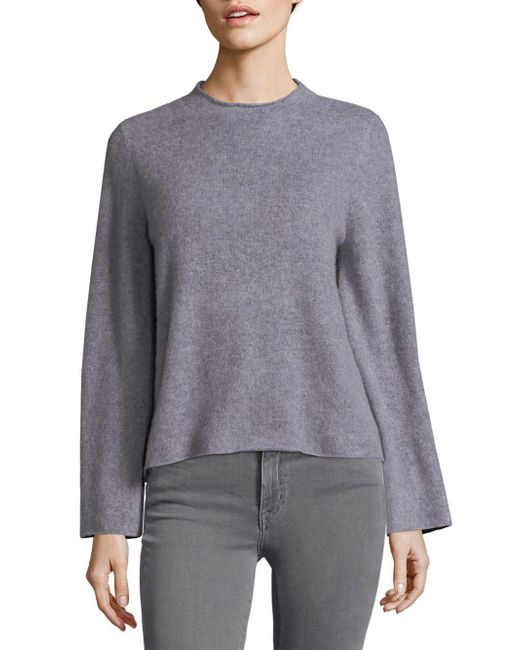 MILLY - Gray Marled Cashmere Sweater - Lyst
