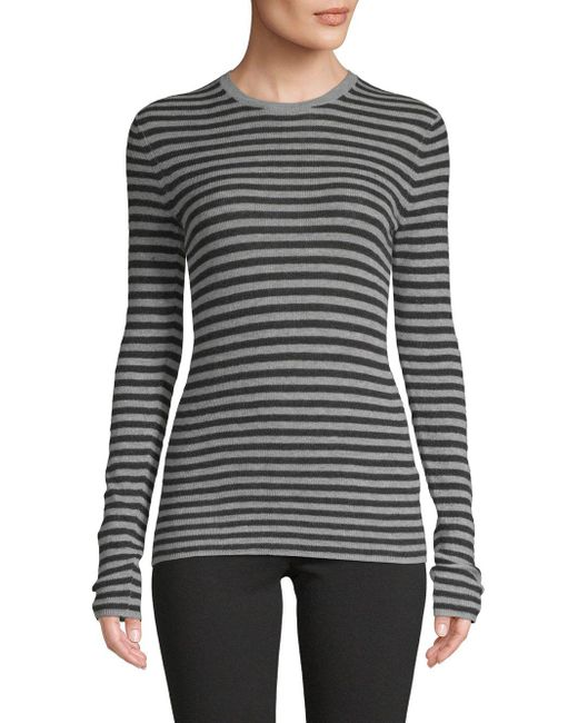 Vince - Gray Striped Cashmere Top - Lyst