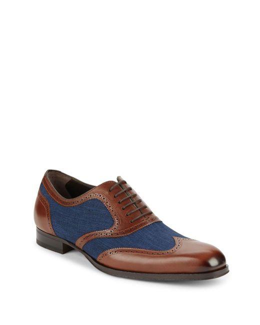 Mezlan | Blue Mixed Media Wingtip Oxford Shoes for Men | Lyst