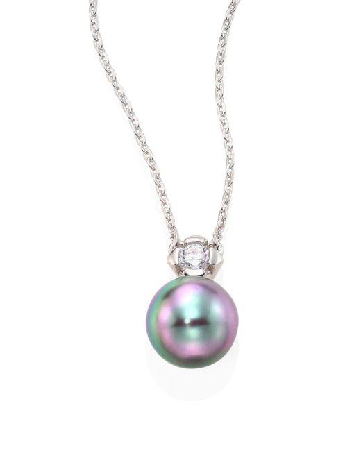 Majorica - Gray 9mm Grey Baroque Pearl & Cubic Zirconia Pendant Necklace - Lyst