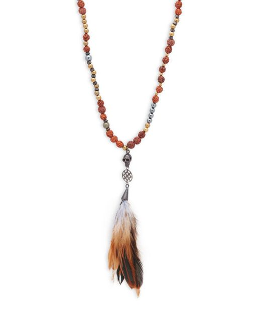 Saks Fifth Avenue - Brown Skull Beaded Necklace - Lyst