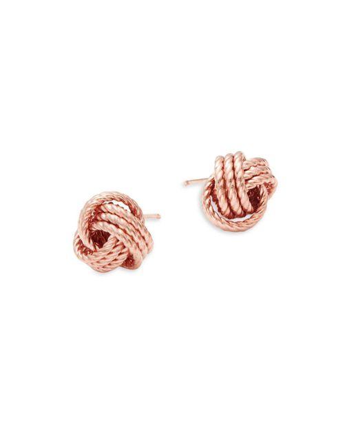 Saks Fifth Avenue - Metallic 14k Rose Gold Twist Knot Earrings - Lyst