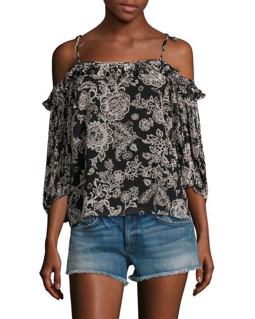 Ella Moss - Black Ria Floral Cold-shoulder Top - Lyst