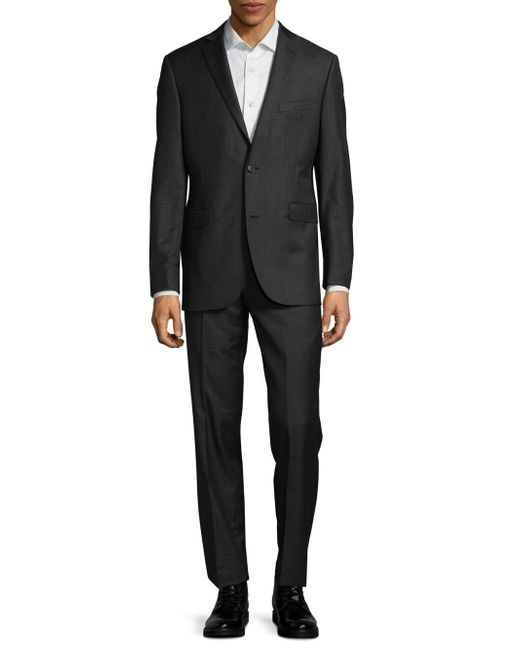 Saks Fifth Avenue Gray Trim-fit Casual Wool Suit for men
