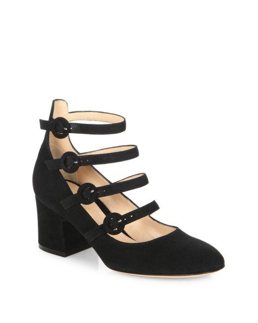 Gianvito Rossi - Black Multi-strap Suede Mary Jane Block Heel Pumps - Lyst