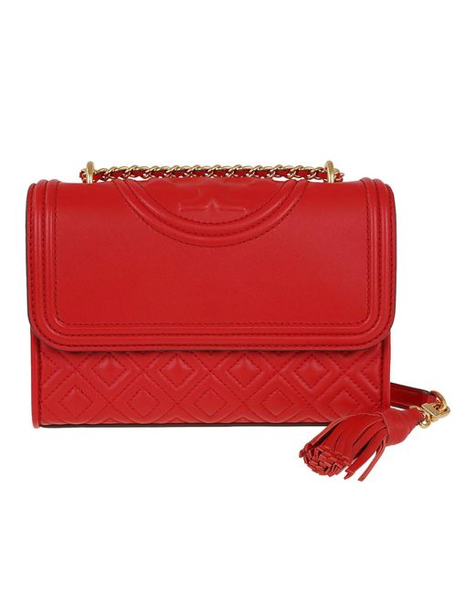 212847ebbf792 ... Tory Burch - Red Fleming Small Convertible Shoulder Bag - Lyst ...