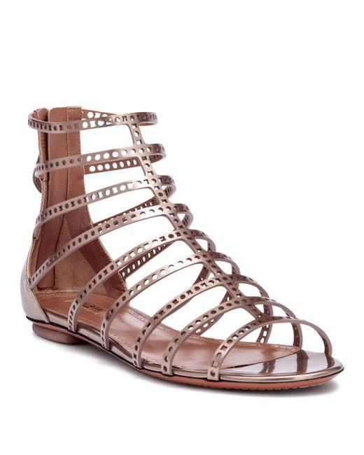 04c0a1f54f5c1 Alaïa - Multicolor Metallic Laser-cut Leather Sandals - Lyst ...