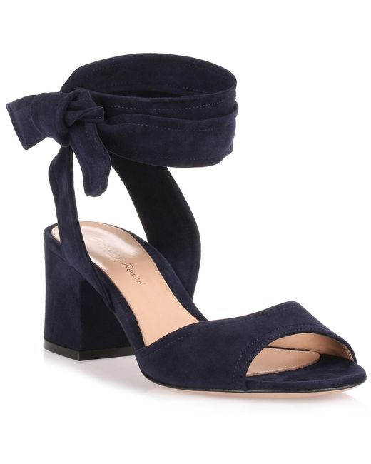 0c1914e08229 Lyst - Gianvito Rossi Nika 60 Navy Suede Sandal in Blue - Save 50%