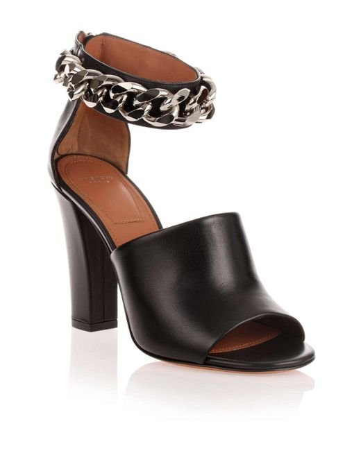 Givenchy | Black Leather Chain Sandal Us | Lyst