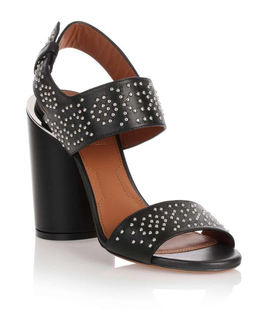 Givenchy | Black Studded Leather Sandal | Lyst