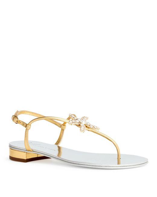 387be0fd813c Giuseppe Zanotti - Metallic Starfish Gold Nappa Flat Sandals - Lyst ...