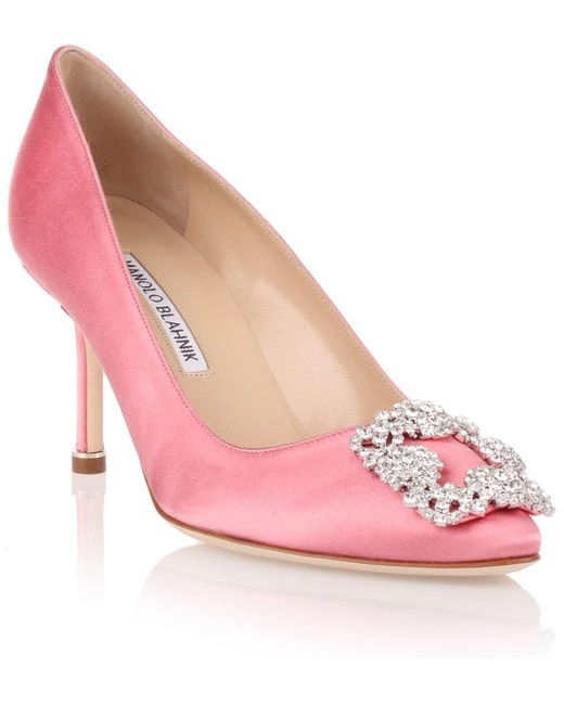 Manolo Blahnik | Hangisi 70 Satin Pump Pink Clear Crystals Us | Lyst