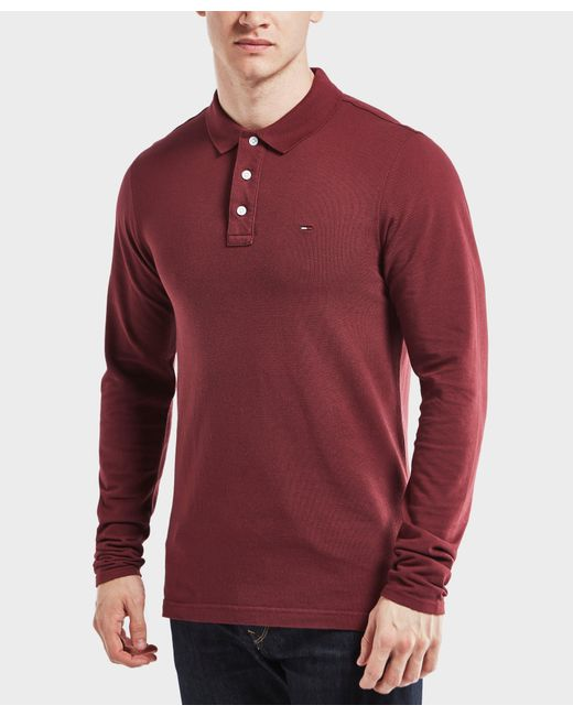 Tommy Hilfiger   Red Long Sleeve Polo Shirt for Men   Lyst