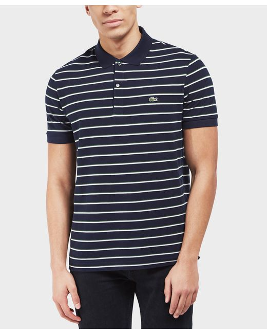 Lacoste - Blue Pique Stripe Short Sleeve Polo Shirt for Men - Lyst