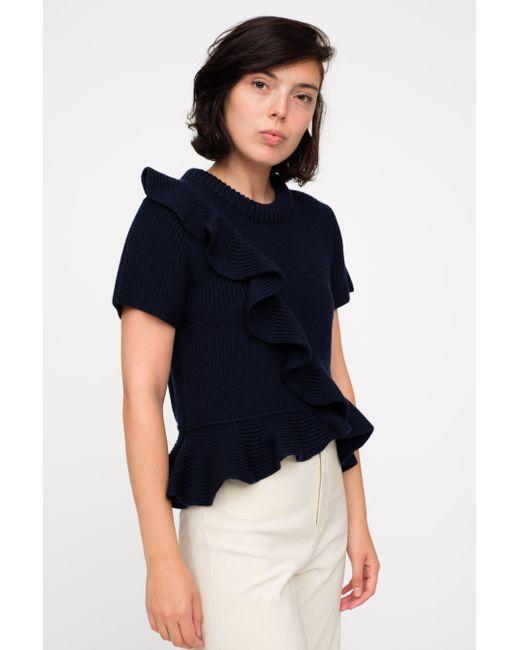 Sea Short Sleeve Ruffle Sweater in Blue | Lyst