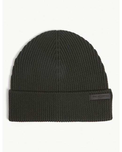 55a93410bd9 The Kooples Leather Logo Rib-knit Wool Beanie in Green for Men - Lyst