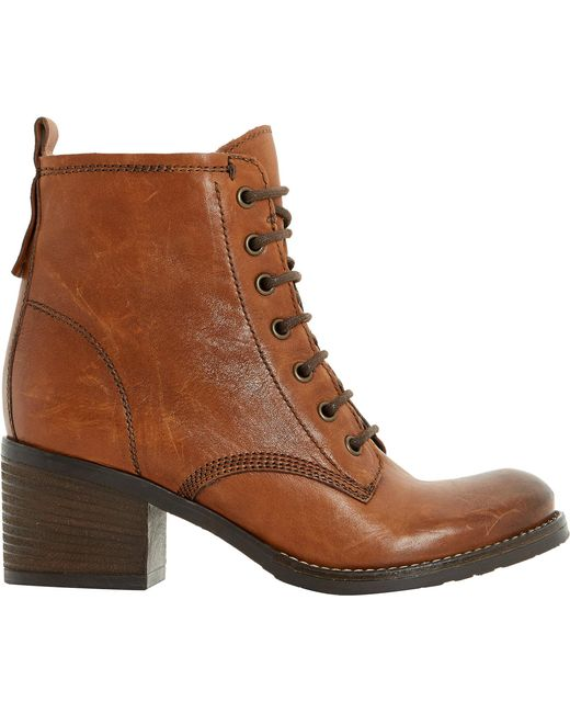Dune   Brown Leather Lace Up Patsie Ankle Boot   Lyst