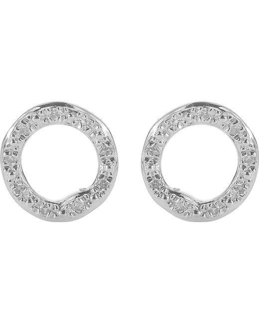 Monica Vinader - Metallic Riva Sterling Silver Pavé Diamond Circle Stud Earrings - Lyst