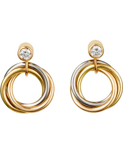 Cartier - Metallic Sweet Trinity 18ct Gold And Diamond Earrings - Lyst