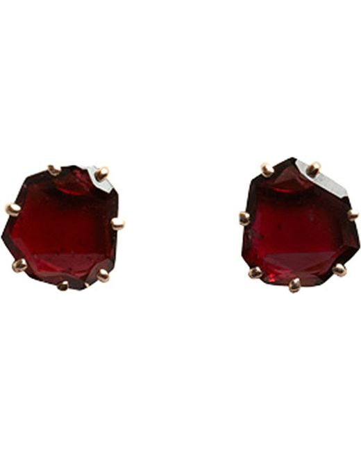 Annoushka | Red Shard 18ct Rose-gold And Garnet Stud Earrings | Lyst